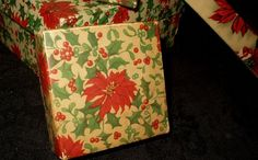 Antique Vintage 1920 Christmas Paper Covered Gift Box