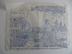 vintage embroidery transfer crinoline lady in country cottage garden