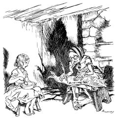 'The Lapp woman wrote a few words on a dried stockfish.' Illustration by Arthur Rackham from The Snow Queen - The Golden Age of Illustration Series. #fairytales #hansandersen #vintageillustration