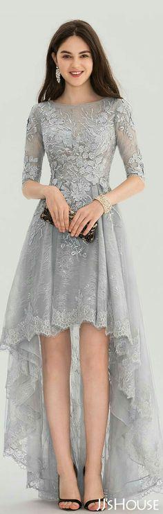 A-Line/Princess Scoop Neck Asymmetrical Tulle Lace Prom Dress - Prom Dresses - JJsHouse Dress Brokat, Kebaya Dress, Tulle Lace, Lace Dress, Dress Up, Lace Maxi, Trendy Dresses, Nice Dresses, Fashion Dresses