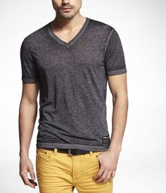 Strechy v-necks but not in purple or blue :) (this is the closest pic lol)