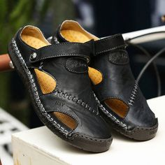 5db274d221829f Menico Menico Men Hand Stitching Soft Outdoor Closed Toe Leather Sandals is  comfortable to wear