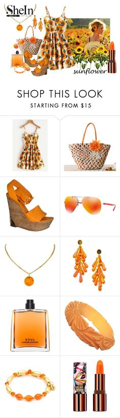 """""""SheIn Sunflower Print Crisscross Back"""" by susan-993 ❤ liked on Polyvore featuring Louis Vuitton, Ray-Ban, Chanel, COSTUME NATIONAL, Chrysalis and Teeez"""