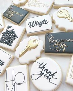 "Maison Wells's Instagram post: ""Pretty black/white/gold cookies, and fun different fonts!"" Crazy Cookies, Iced Cookies, Cupcake Cookies, Sugar Cookies, Cupcakes, Cookie Frosting, Royal Icing Cookies, Royal Icing Templates, Black And White Cookies"