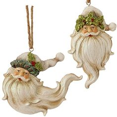 "Sageberry - 5.5"" Glittered Holly Santa Claus Head Ornaments - Set of 2  http://www.amazon.com/dp/B018FUVIX4/ref=cm_sw_r_pi_dp_BHCwwb13JN52F"