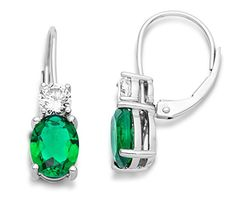 Miore Women's 925 Sterling Silver Emerald Green and Cubic Zirconia Drop Earrings…