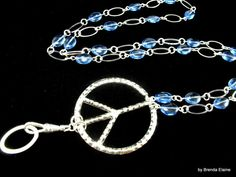 Hippy Peace Sign in Blue Lanyard by byBrendaElaine on Etsy, $25.00