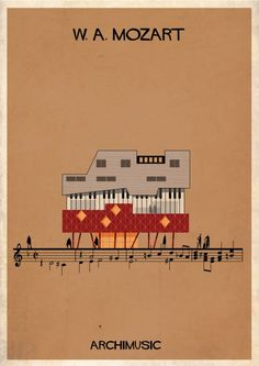 Barcelona-based illustrator and architect Federico Babina has created Archimusic, a series of illustrations that imagine famous music artists as Seven Nation Army, Famous Music Artists, Cartoon Building, Architecture Images, Sketch Architecture, Classic Songs, Humor Grafico, Business Design, Layout