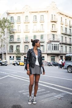 fitted tee + floral skirt + leather jacket + sneakers/moto boots