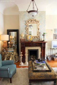DIY stencil pattern ideas for stylish fireplace makeovers, updated mantles | Royal Design Studio