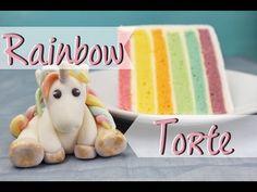 Regenbogentorte backen – Regenbogenkuchen Rezept mit Fondant Einhorn | absolute Lebenslust