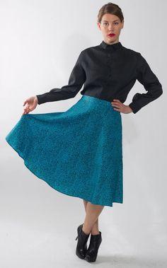 1970's Blue Skirt   Vintage 1980's Leopard Print by mijumaju, $36.00