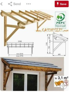 Porch railing can be a good idea because it gives a safe place for kids to not going out from home. Here are some porch railing ideas to make your home more eye catching. Front Door Awning, Porch Awning, Diy Awning, Porch Roof, Patio Awnings, Diy Pergola, Pergola With Roof, Wooden Pergola, Pergola Shade