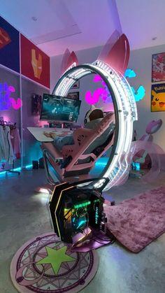 gamingchairs Computer Gaming Room, Gaming Room Setup, Computer Setup, Gaming Rooms, Pc Setup, Room Design Bedroom, Girl Bedroom Designs, Otaku Room, Video Game Rooms