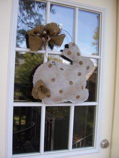 DIY burlap door hanging