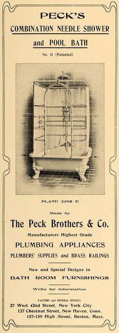 1903 Ad Peck Needle Shower Pool Bath Plumbing Fixtures Bathroom Furnishings