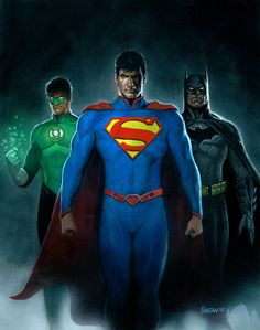 Green Lantern, Superman, and Batman in their current costumes. Gouache and airbrush on gessoed masonite board Green Lantern, Superman, and Batman Dc Comics Heroes, Comic Book Superheroes, Dc Comics Characters, Comic Book Heroes, Marvel Dc Comics, Comic Books Art, Comic Art, Comic Superman, Batman Art