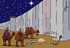 Los Reyes Magos tratan de superar las murallas para poder llegar a Belén. Caricatura de Polyp.