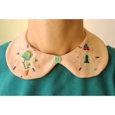 Reserved Hand embroidered Venus Flytrap and the Flygirl Peter Pan... (€12) ❤ liked on Polyvore featuring collar