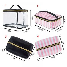 PVC Transparent Cosmetic Bag Travel Toiletry Bag Set Pink Make-up Organizer Makeup Pouch Case Vanity Travel Necessaire Beautician Cosmetic Bag Set, Travel Cosmetic Bags, Bag Sewing Pattern, Leather Makeup Bag, Fabric Bags, Toiletry Bag, Organizer, Bag Storage, Bag Making
