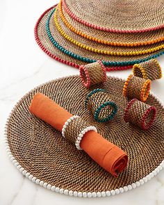 Calaisio Four Round Bead-Rimmed Placemats Four Bead-Rimmed Napkin Rings - Crochet Clothing 2019 - 2020 Jute Crafts, Diy Home Crafts, Crochet Placemats, Christmas Placemats, Jute Twine, Round Beads, Napkin Rings, Napkins, Creations