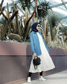 Casual Hijab Outfit, Ootd Hijab, Modest Outfits, Simple Outfits, Model Baju Hijab, New Hijab, Hijab Style Dress, Hijab Fashionista, Skirt Fashion