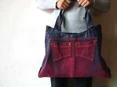 upcycled red flocked jeans and blue leather jacket transformed into OOAK bag.