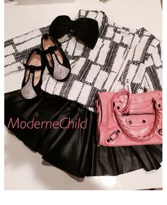 We have the best pieces to mix and match so that your little one's wardrobe will always stay fun and fabulous !   Checkout this ensemble we put together! Love love love!  Pick up the Gretchen Zipper Jacket, faux leather skirt, big black hair bow, rhinestone black shoes and candy pink Balenciaga inspired Mini Motor Bag today at www.modernechild.com . FREE SHIPPING !!  #mixandmatch #adorable #kidsaccessories #kidsshoes #minihandbags #ootd #trendy #trendsetter