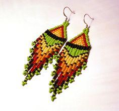 Native American Earrings Inspired. Dangle Long Earrings. Yellow, Orange, Red, Black and Green Earrings. Beadwork
