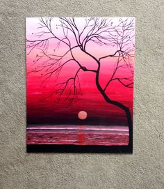 This is my absolute favorite painting I have made so far. It has a beautiful mix of deep reds, pinks, and some coral for the sunset and reflection into the water. The tree silhouette has intricate details and fine lines to create a lifelike feel. This is a large painting-20x16 and it looks great just about anywhere! It is on a sturdy, but lightweight and easy to hang canvas