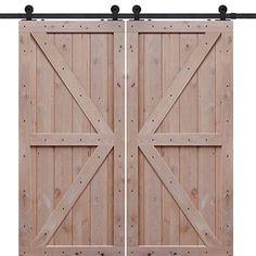 GlassCraft Double Z Knotty Alder Two Panel Double Barn Door at Doors4Home.com