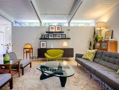 i ,<3 the windows, and is that the couch i've been looking for?!? Get This Look: Mid-Century Modern #design #DIY #interior