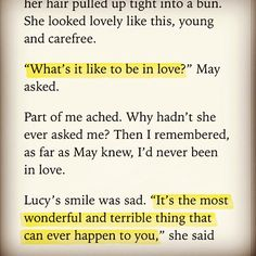 """""""It's the most wonderful and terrible thing that could ever happen to you,"""" She said.<<<<that's why i love lucy The Selection Series Books, The Selection Kiera Cass, Kiera Cass Books, Maxon Schreave, Words Quotes, Sayings, Favorite Book Quotes, Book Writing Tips, Book Memes"""