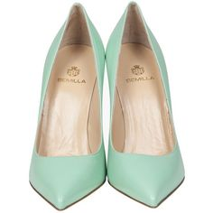 SEMILLA TURQUOISE GREEN LEATHER PUMPS (€255) ❤ liked on Polyvore featuring shoes, pumps, heels, sapatos, turquoise shoes, pointy-toe pumps, heel pump, high heel shoes and turquoise pumps