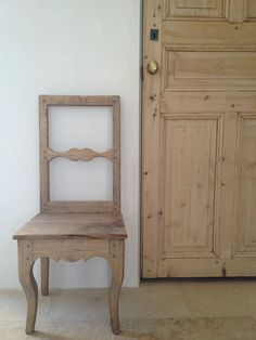 small French Pine chair and antique Pine door in our mud room. #patinafarm