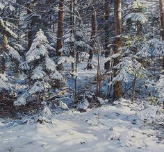 "Snow and Trees by Susan Paterson Watercolor ~ 30"" x 32.5"""