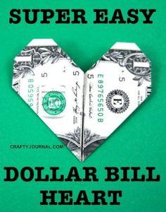 Super Easy Dollar Bill Heart by Crafty Journal
