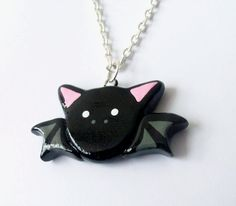 Halloween Black Bat Necklace - Polymer Clay Pendant Charm - Silver Plated, Nickel Free, Lead Free Chain