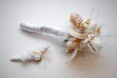 Seashell bouquet and boutonniere
