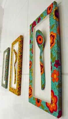 Kitchen Decorating Ideas and Utensils - Ideias para a casa - I will bring to this publication ideas for decorating and utensils with recyclable things for the k - African Crafts, African Home Decor, Diy Crafts For Home Decor, Arts And Crafts, Diy Wall Art, Diy Art, Diy Para A Casa, African Interior Design, Painted Spoons