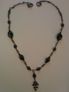 Green and Black Agate Necklace