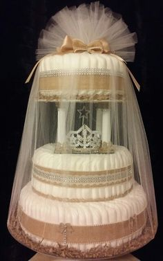 III-Tier Burlap, Lace & Pearl Princess Tiara Light-Up Diaper Cake on a Spinning Base by Colette coletteedwards247@gmail.com or  reneelenn2692@gmail.com #vintage #chic #natural #country #vintagegirl #vintagebaby #vintagebabyshower #babyshower #gifts #girlgifts #