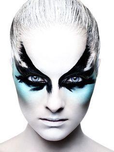 blue, black, feather eye makeup  #style #fantasy #beauty #makeup #cosmetics…