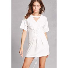 Forever21 Corset T-Shirt Dress ($35) ❤ liked on Polyvore featuring dresses, white, white corset, t-shirt dresses, mini dress, t shirt dress and white lace up corset