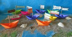 10 paper boat origami decoration photo prop art by shredlock, $15.00