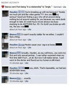 5. Cheaters are the worst. Kallie was furious when she found out that the guy she was with was cheating on her. So of course, she shared the news on Facebook. Her Facebook friend Ladd commented with 'Karma sucks' and Kallie was quick to agree. She didn't realize that the comment was meant for her. What goes around, comes around.