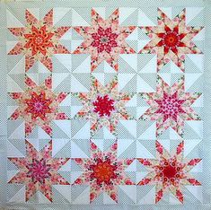 T-Pink Mini Lone Stars | by Linda Rotz Miller Quilts & Quilt Tops. Mini lone start stack and whack with secondary design