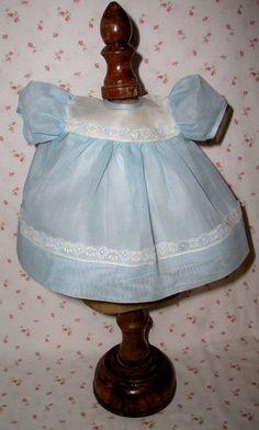 "CRISP and MINT Effanbee Factory BLUE Organdy Dress for 15"" Dy-Dee Jane"