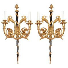 Pair Exceptional Quality Louis XVI Ormolu and Patinated Sconces