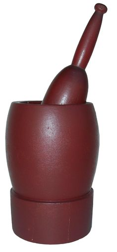 19th century Treenware Mortar and Pestle, American. Original dry red painted surface